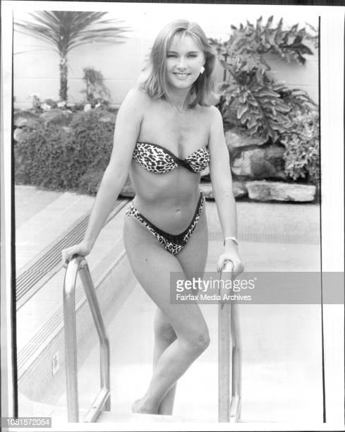 Model Julie Sieveel at the Southern Cross Hotel.Capture the spirit of the jungle in this skimpy leopard print bikini. The leather trim gives a twist...