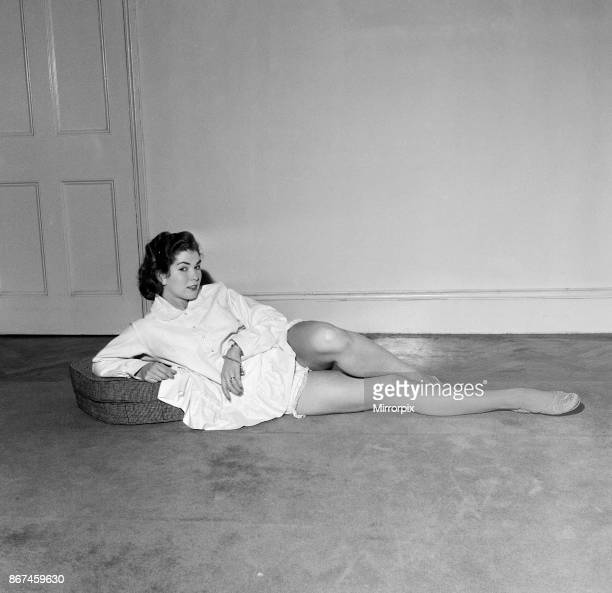 Model June Roberts wearing an American designed nightdress by Sleepwear firm Schrank 26th October 1956