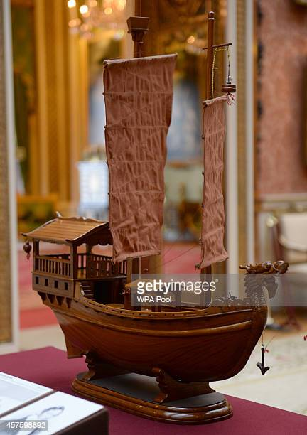 A model Junk which was presented to Prince Philip Duke of Edinburgh during a tour of the commonwealth in 1959 is displayed as part of a display of...