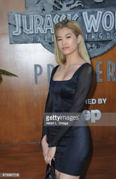 Model Justine Biticon arrives for the Premiere Of Universal Pictures And Amblin Entertainment's 'Jurassic World Fallen Kingdom' held at Walt Disney...