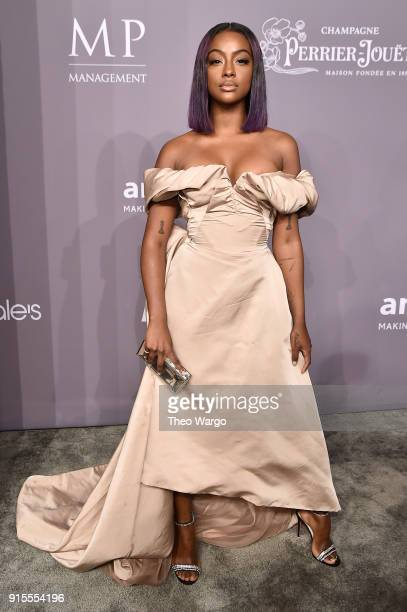 Model Justine Skye attends the 2018 amfAR Gala New York at Cipriani Wall Street on February 7 2018 in New York City