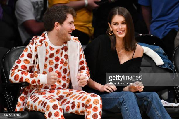 Model Kaia Gerber and Cameron Azoff attend a basketball game between the Los Angeles Lakers and the Detroit Pistons at Staples Center on January 09...