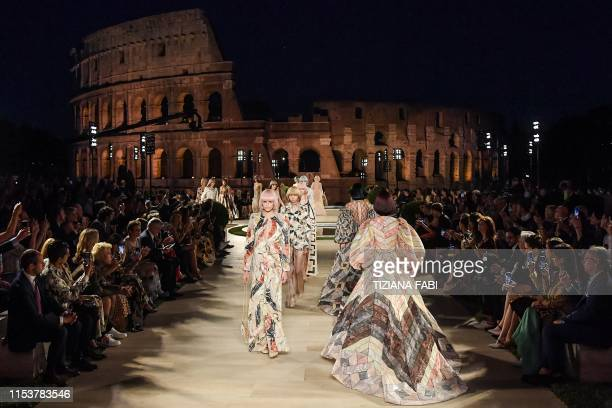 TOPSHOT US model Kaia Gerber and models present creations during the outdoors presentation of Italian fashion house Fendi's Couture Fall/Winter...