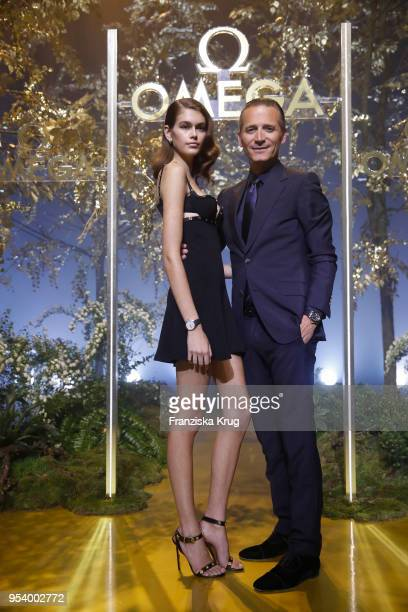 Model Kaia Gerber and Raynald Aeschlimann CEO and president of OMEGA attend the OMEGA Tresor Event at Kraftwerk Mitte on May 2 2018 in Berlin Germany