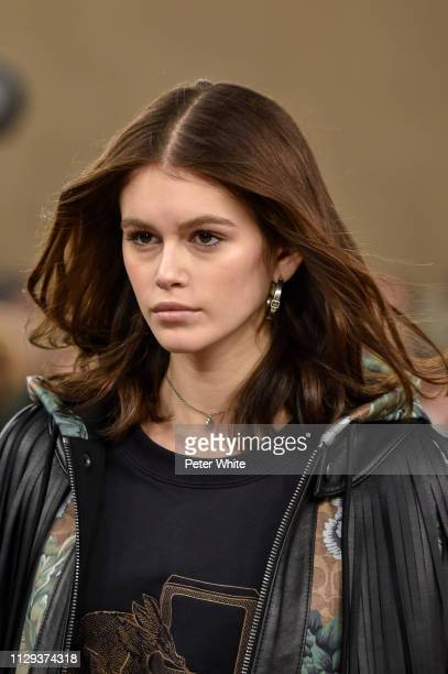 Model Kaia Gerber, beauty runway detail, walks the runway at the Coach fashion show during New York Fashion Week on February 12, 2019 in New York...