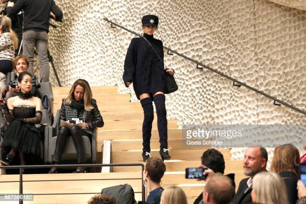 Model Kaia Gerber daughter of Cindy Crawford during the Chanel 'Trombinoscope' collection Metiers d'Art 2017/18 fashion show at Elbphilharmonie on...