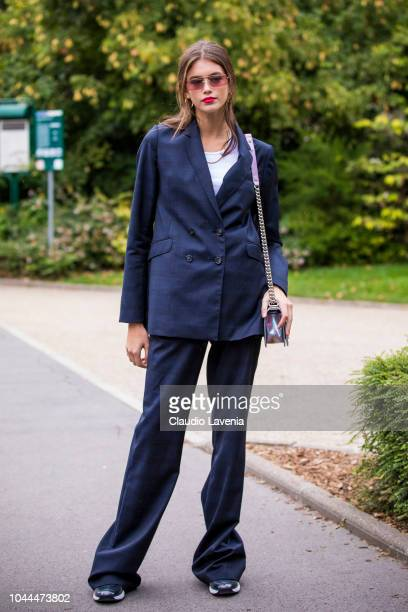 Model Kaia Gerber is seen after the Chanel show on October 2, 2018 in Paris, France.