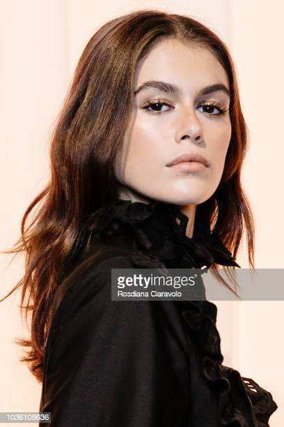 Model Kaia Gerber is seen backstage ahead of the Alberta Ferretti show during Milan Fashion Week Spring/Summer 2019 on September 19 2018 in Milan...