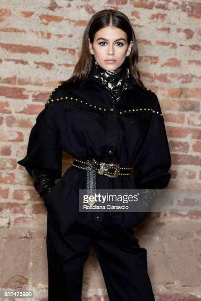 Model Kaia Gerber is seen backstage ahead of the Alberta Ferretti show during Milan Fashion Week Fall/Winter 2018/19 on February 21 2018 in Milan...