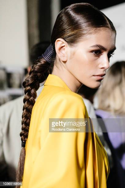 Model Kaia Gerber is seen backstage ahead of the Max Mara show during Milan Fashion Week Spring/Summer 2019 on September 20 2018 in Milan Italy