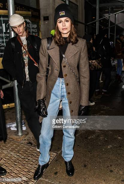 Model Kaia Gerber is seen leaving the Coach 1941 fashion show at the NYSE during New York Fashion Week on February 12, 2019 in New York City.