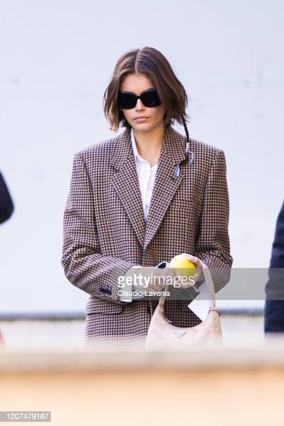 Model Kaia Gerber is seen outside Max Mara fashion show during Milan Fashion Week Fall/Winter 2020-2021 on February 20, 2020 in Milan, Italy.