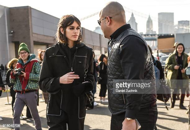 Model Kaia Gerber is seen outside the Coach show during New York Fashion Week Women's A/W 2018 on February 13 2018 in New York City