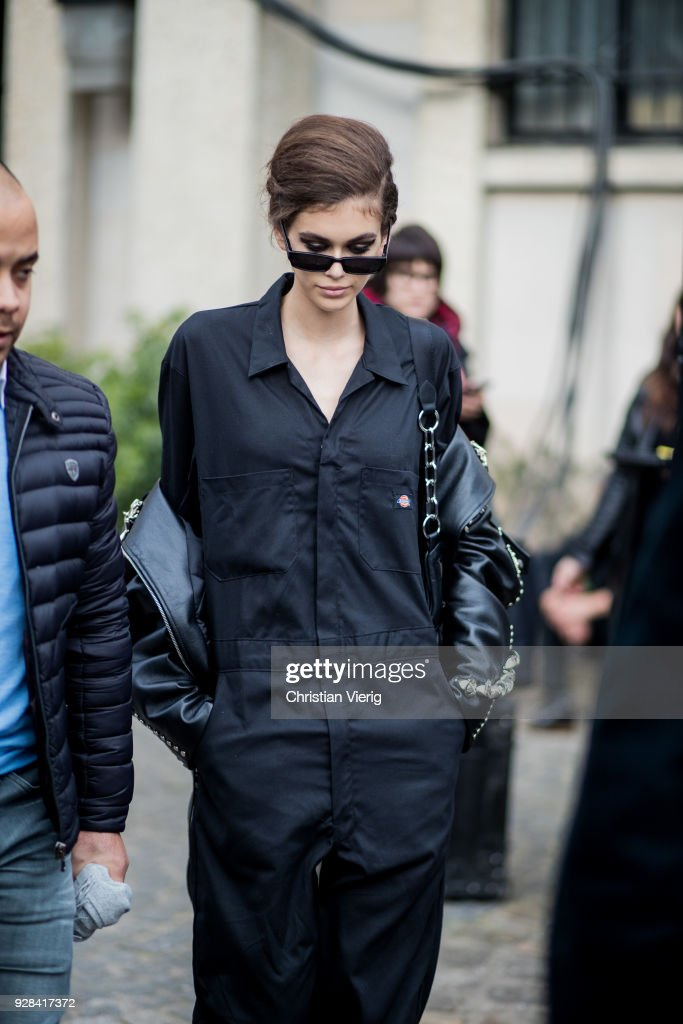Model Kaia Gerber is seen wearing Dickies overall outside Miu Miu during Paris Fashion Week Womenswear Fall/Winter 2018/2019 on March 6, 2018 in Paris, France.