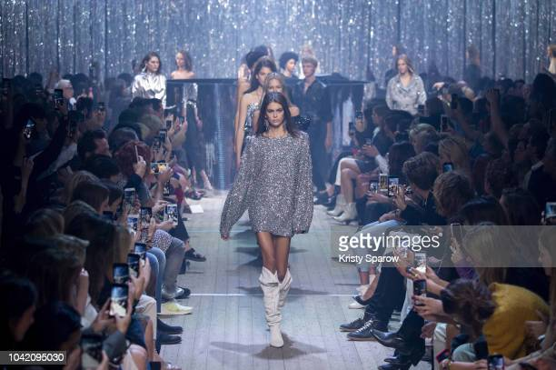 Model Kaia Gerber leads the finale on the runway during the Isabel Marant show as part of Paris Fashion Week Womenswear Spring/Summer 2019 on...