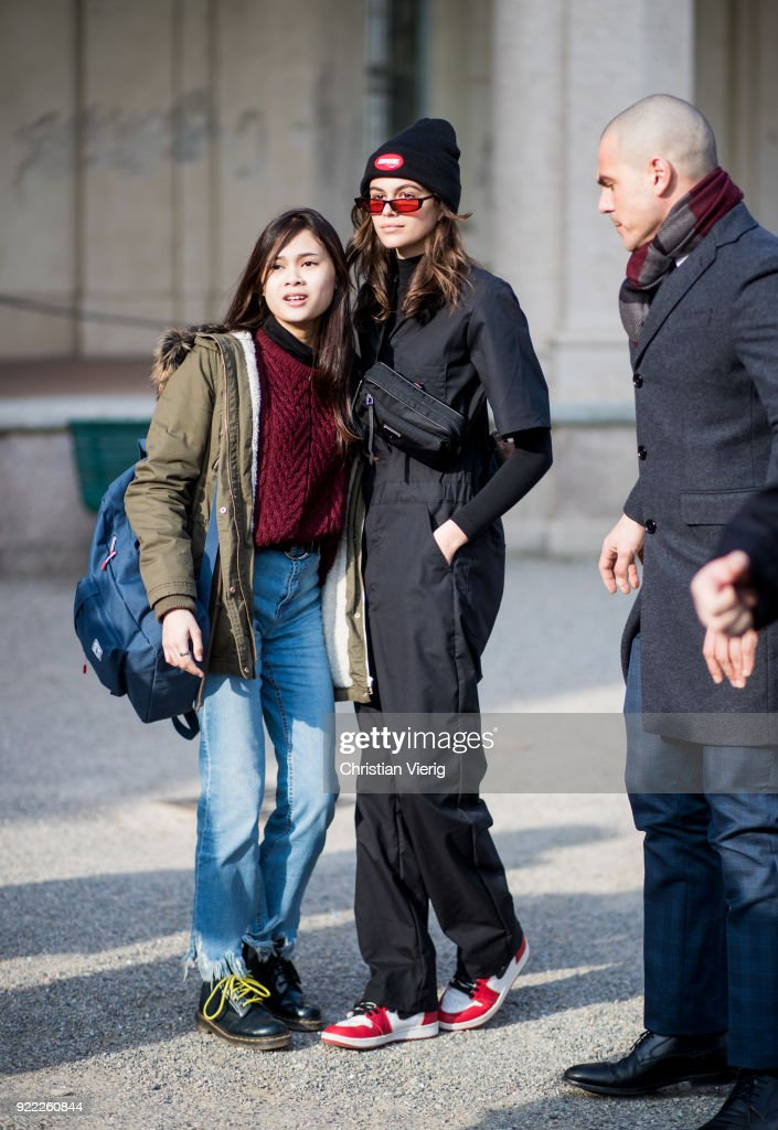 Street Style: February 21 - Milan Fashion Week Fall/Winter 2018/19 : News Photo