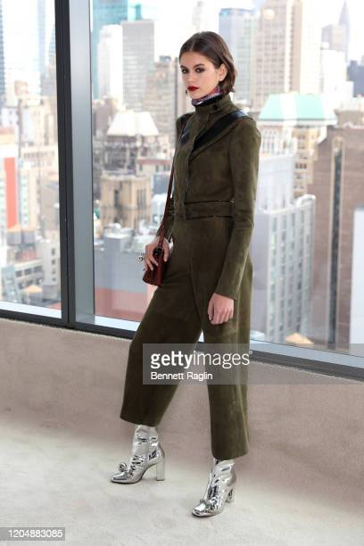 Model Kaia Gerber prepares backstage for the Longchamp fashion show during February 2020 - New York Fashion Week: The Shows at Hudson Commons on...