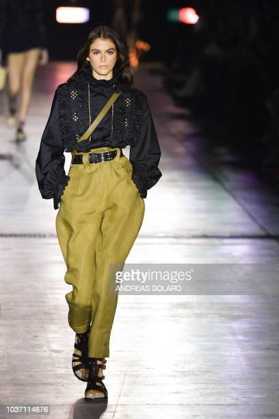 Model Kaia Gerber presents a creation by Alberta Ferretti during her Women's Spring/Summer 2019 fashion show in Milan on September 19 2018