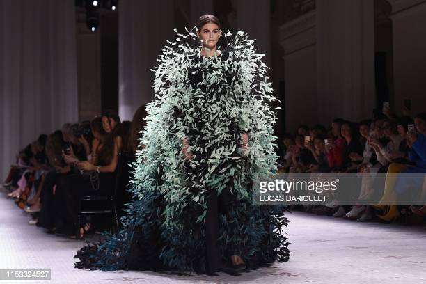 Model Kaia Gerber presents a creation by Givenchy during the Women's Fall-Winter 2019/2020 Haute Couture collection fashion show in Paris, on July 2,...