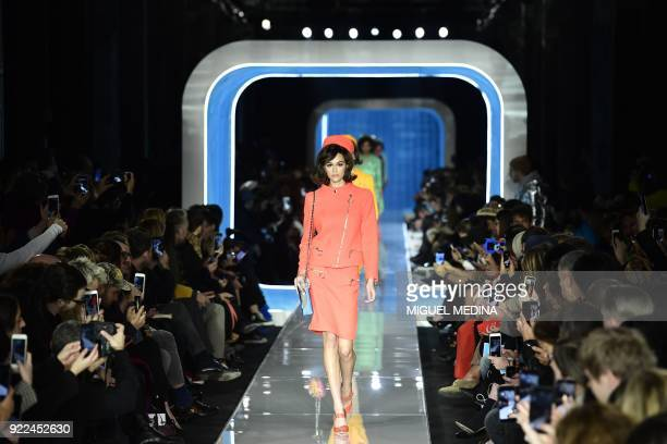 TOPSHOT US model Kaia Gerber presents a creation by Moschino during the women's Fall/Winter 2018/2019 collection fashion show in Milan on February 21...