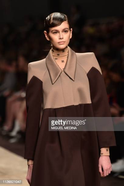Model Kaia Gerber presents a creation during the Fendi women's Fall/Winter 2019/2020 collection fashion show on February 21 2019 in Milan