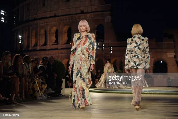 US model Kaia Gerber presents a creation during the presentation of Italian fashion house Fendi's Couture Fall/Winter 20192020 show on July 4 2019 at...