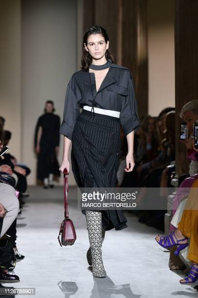 Model Kaia Gerber presents a creation during the Salvatore Ferragamo women's Fall/Winter 2019/2020 collection fashion show on Februay 23 2019 in Milan