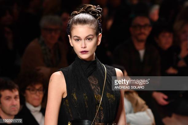 Model Kaia Gerber presents a creation for Fendi's Women Fall - Winter 2020 fashion collection on February 20, 2020 in Milan.