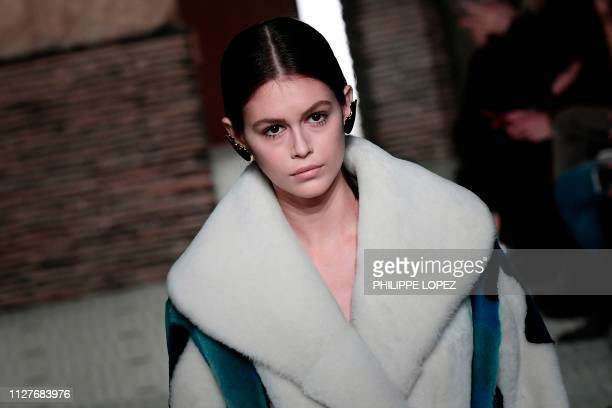 US model Kaia Gerber presents a creation for Lanvin during the FallWinter 2019/2020 ReadytoWear collection fashion show in Paris on February 27 2019