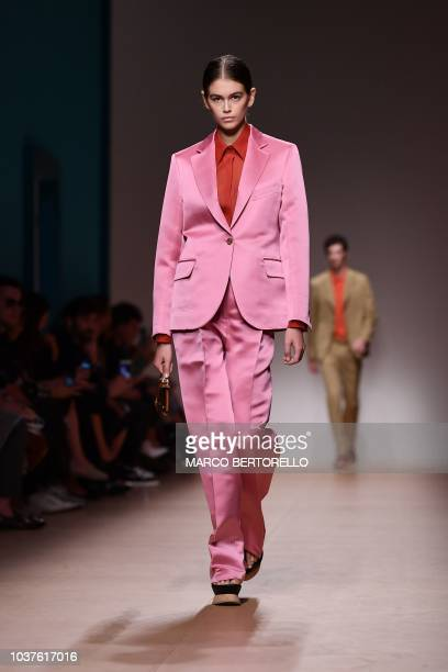 Model Kaia Gerber presents a creation for Salvatore Ferragamo fashion house during the Women's Spring/Summer 2019 fashion shows in Milan on September...