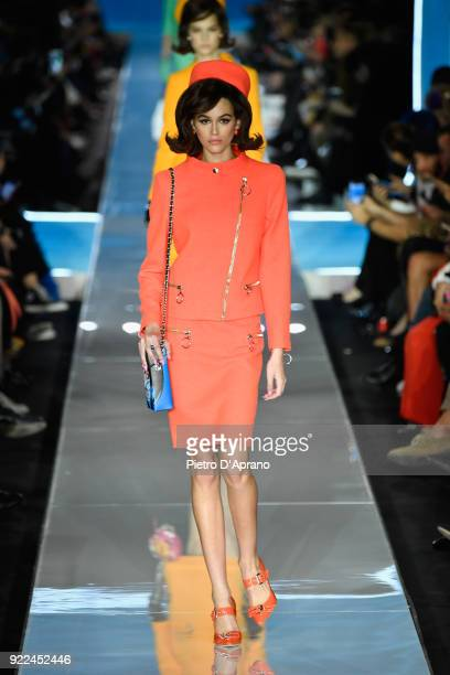 Model Kaia Gerber walks on the runway at the Moschino show during Milan Fashion Week Fall/Winter 2018/19 on February 21 2018 in Milan Italy