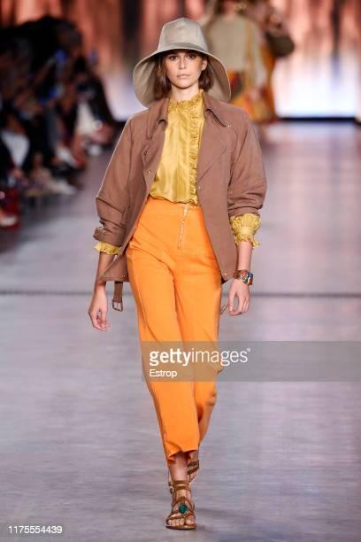 Model Kaia Gerber walks the runway at the Alberta Ferretti show during Milan Fashion Week September 2019 at Italy on September 18, 2019 in Milan,...