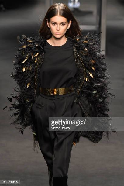 Model Kaia Gerber walks the runway at the Alberta Ferretti show during Milan Fashion Week Fall/Winter 2018/19 on February 21 2018 in Milan Italy