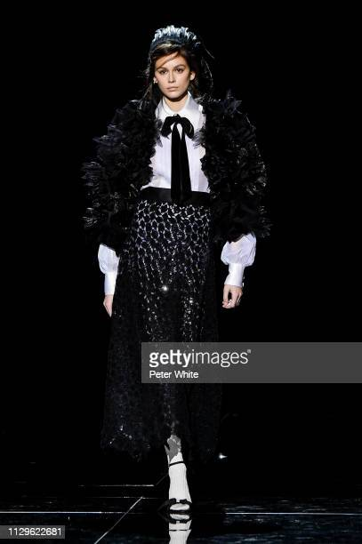 Model Kaia Gerber walks the runway at the Marc Jacobs fashion show during New York Fashion Week on February 13 2019 in New York City