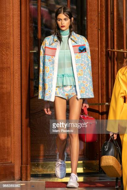 Model Kaia Gerber walks the runway during Miu Miu 2019 Cruise Collection Show at Hotel Regina on June 30 2018 in Paris France