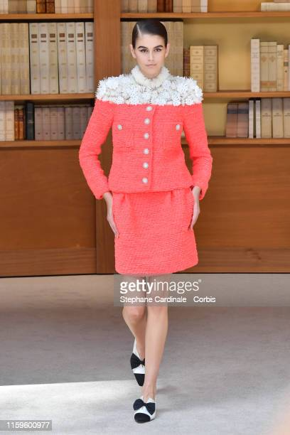 Model Kaia Gerber walks the runway during the Chanel Haute Couture Fall/Winter 2019 2020 show as part of Paris Fashion Week on July 02, 2019 in...