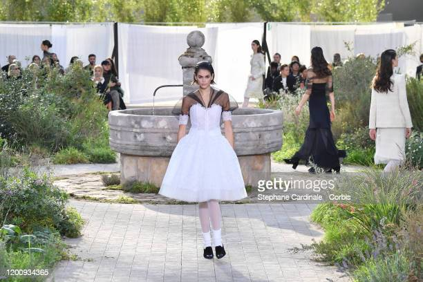 Model Kaia Gerber walks the runway during the Chanel Haute Couture Spring/Summer 2020 show as part of Paris Fashion Week on January 21, 2020 in...