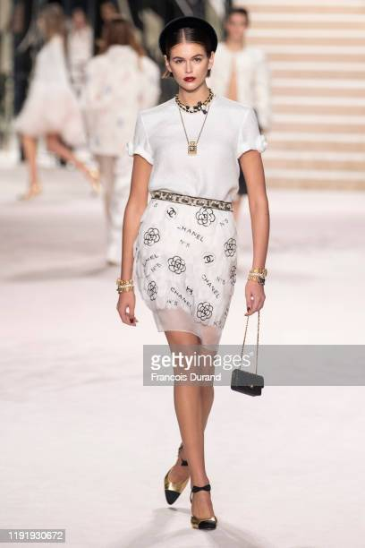 Model Kaia Gerber walks the runway during the Chanel Metiers d'art 20192020 show at Le Grand Palais on December 04 2019 in Paris France