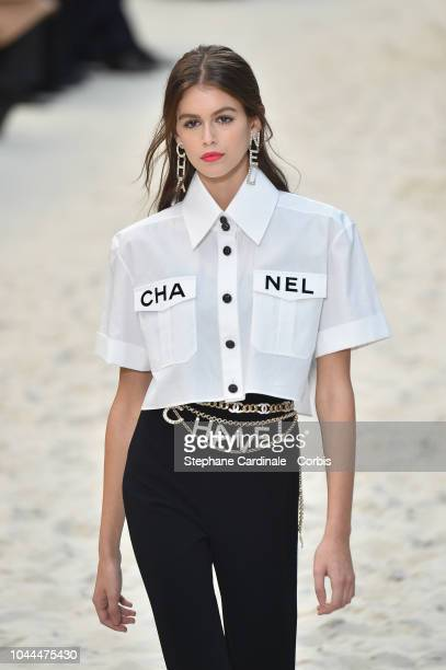 Model Kaia Gerber walks the runway during the Chanel show as part of the Paris Fashion Week Womenswear Spring/Summer 2019 on October 2 2018 in Paris...