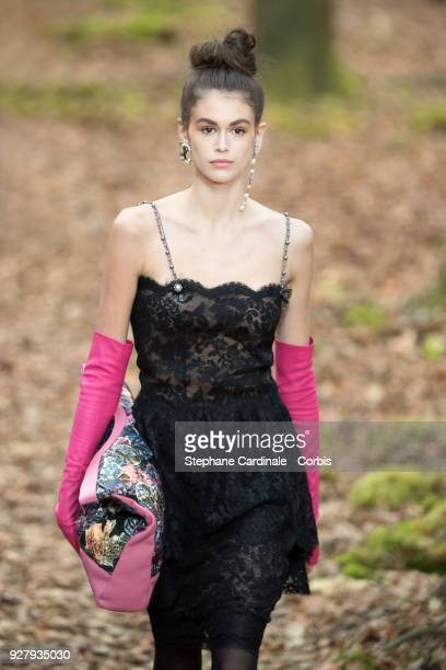 Model Kaia Gerber walks the runway during the Chanel show as part of the Paris Fashion Week Womenswear Fall/Winter 2018/2019 on March 6 2018 in Paris...