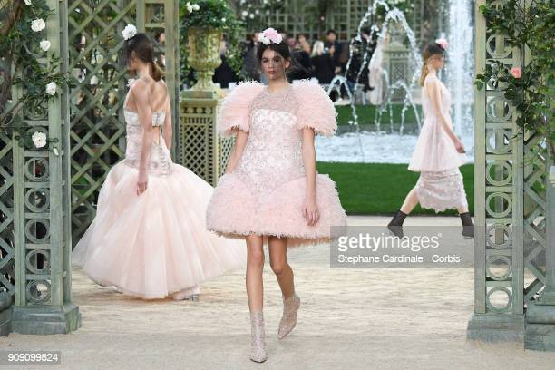Model Kaia Gerber walks the runway during the Chanel Spring Summer 2018 show as part of Paris Fashion Week on January 23 2018 in Paris France