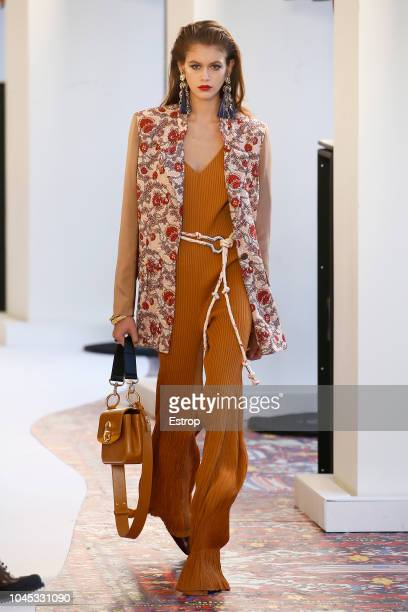 Model Kaia Gerber walks the runway during the Chloe show as part of the Paris Fashion Week Womenswear Spring/Summer 2019 on September 27 2018 in...