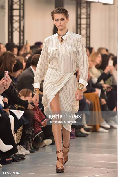 Model Kaia Gerber walks the runway during the Chloe Womenswear Spring/Summer 2020 show as part of Paris Fashion Week on September 26, 2019 in Paris,...