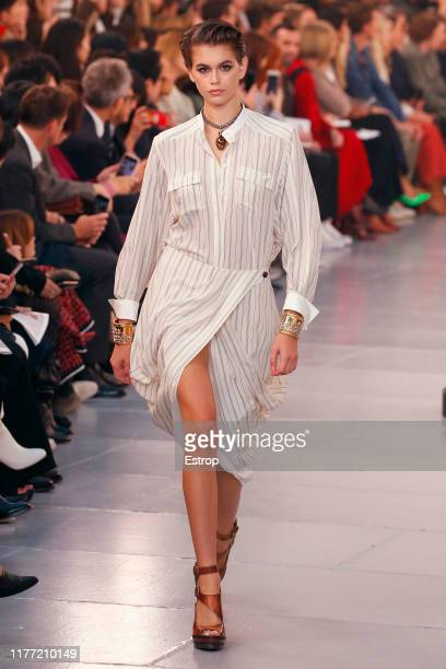 Model Kaia Gerber walks the runway during the Chloe Womenswear Spring/Summer 2020 show as part of Paris Fashion Week on September 26, 2019 in Grand...