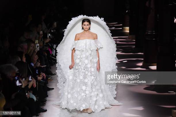 Model Kaia Gerber walks the runway during the Givenchy Haute Couture Spring/Summer 2020 show as part of Paris Fashion Week on January 21, 2020 in...