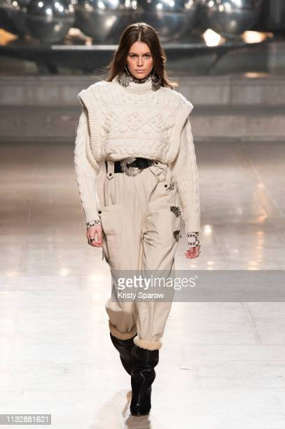 Model Kaia Gerber walks the runway during the Isabel Marant show as part of the Paris Fashion Week Womenswear Fall/Winter 2019/2020 on February 28...