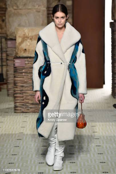 Model Kaia Gerber walks the runway during the Lanvin show as part of the Paris Fashion Week Womenswear Fall/Winter 2019/2020 on February 27, 2019 in...