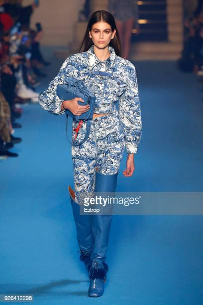 Model Kaia Gerber walks the runway during the OffWhite show as part of the Paris Fashion Week Womenswear Fall/Winter 2018/2019 on February 28 2018 in...