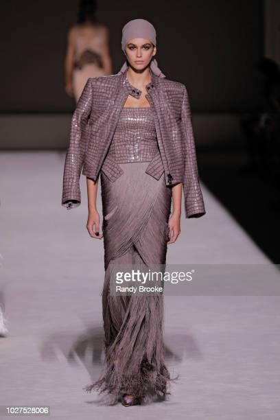 Model Kaia Gerber walks the runway during the Tom Ford fashion show September 2018 at New York Fashion Week at Park Avenue Armory on September 5 2018...