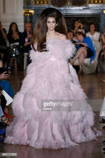 Model Kaia Gerber walks the runway during the Valentino Haute Couture Fall Winter 2018/2019 show as part of Paris Fashion Week on July 4 2018 in...